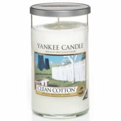 Yankee Candle Pillar Glaskerze mittel 340g Clean Cotton