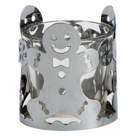 Yankee Candle Silver Gingerbread Man Votivehalter
