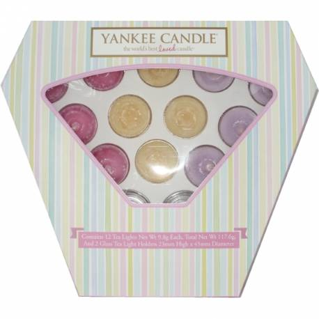 Yankee Candle Geschenk-Set Teelichter Sommer 12er Pack mit 2 Haltern