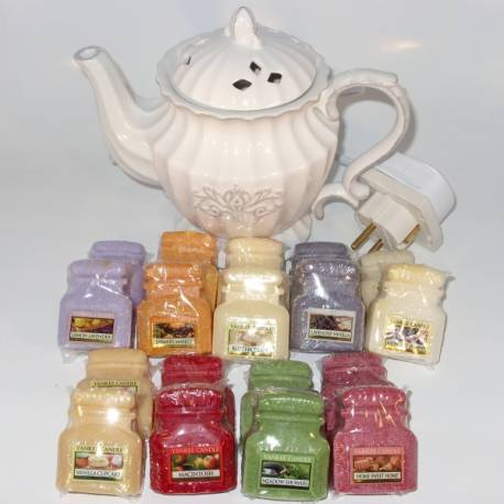 Aktions-Set Yankee Candle Duftlampe elektrisch Teekanne mit 18 Jar Melts
