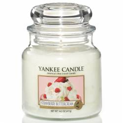 Yankee Candle Jar Glaskerze mittel 411g Strawberry Buttercream
