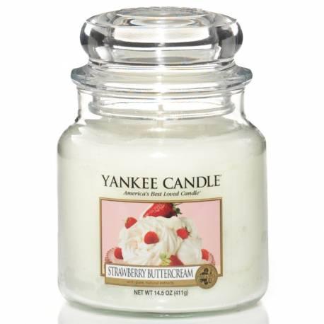 Yankee Candle Jar Glaskerze mittel 411g Strawberry Buttercream