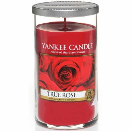Yankee Candle Pillar Glaskerze mittel 340g True Rose