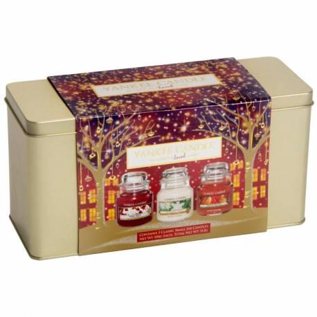 Yankee Candle Geschenk-Set Weihnachten in Dose 3x Jar klein 104g