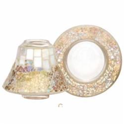 Yankee Candle Gold & Pearl Set kleiner Schirm mit Kerzenteller