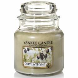 Yankee Candle Jar Glaskerze mittel 411g Olive & Thyme