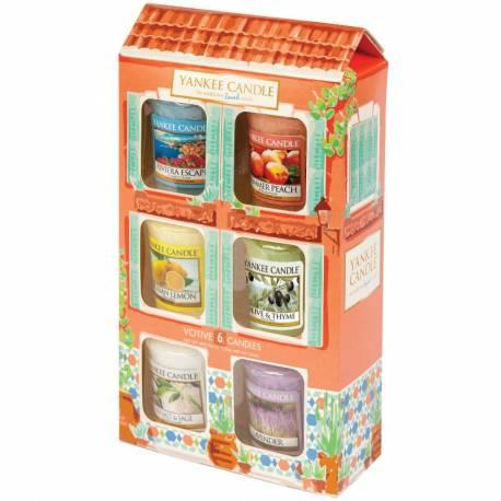Yankee Candle Geschenk-Set Riviera Escape Sampler / Votive 6er Haus