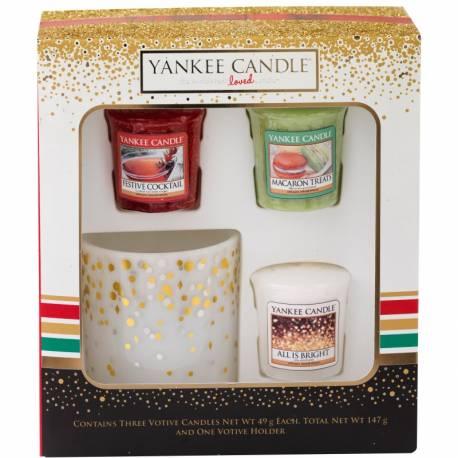 Yankee Candle Geschenk-Set Weihnachten 3 Votive + Votivehalter
