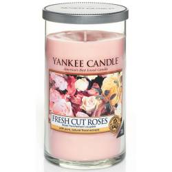 Yankee Candle Pillar Glaskerze mittel 340g Fresh Cut Roses