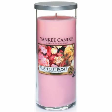 Yankee Candle Pillar Glaskerze gross 566g Fresh Cut Roses