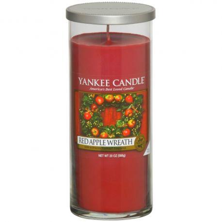 Yankee Candle Pillar Glaskerze gross 566g Red Apple Wreath