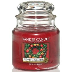 Yankee Candle Jar Glaskerze mittel 411g Red Apple Wreath