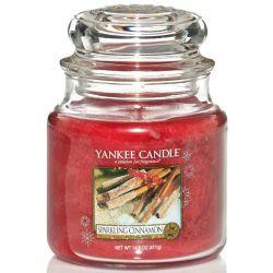 Yankee Candle Jar Glaskerze mittel 411g Sparkling Cinnamon *