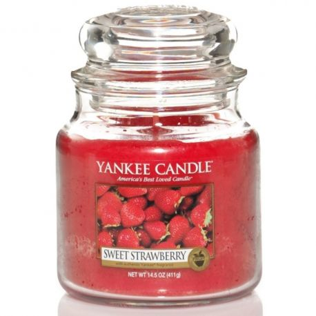 Yankee Candle Jar Glaskerze mittel 411g Sweet Strawberry *